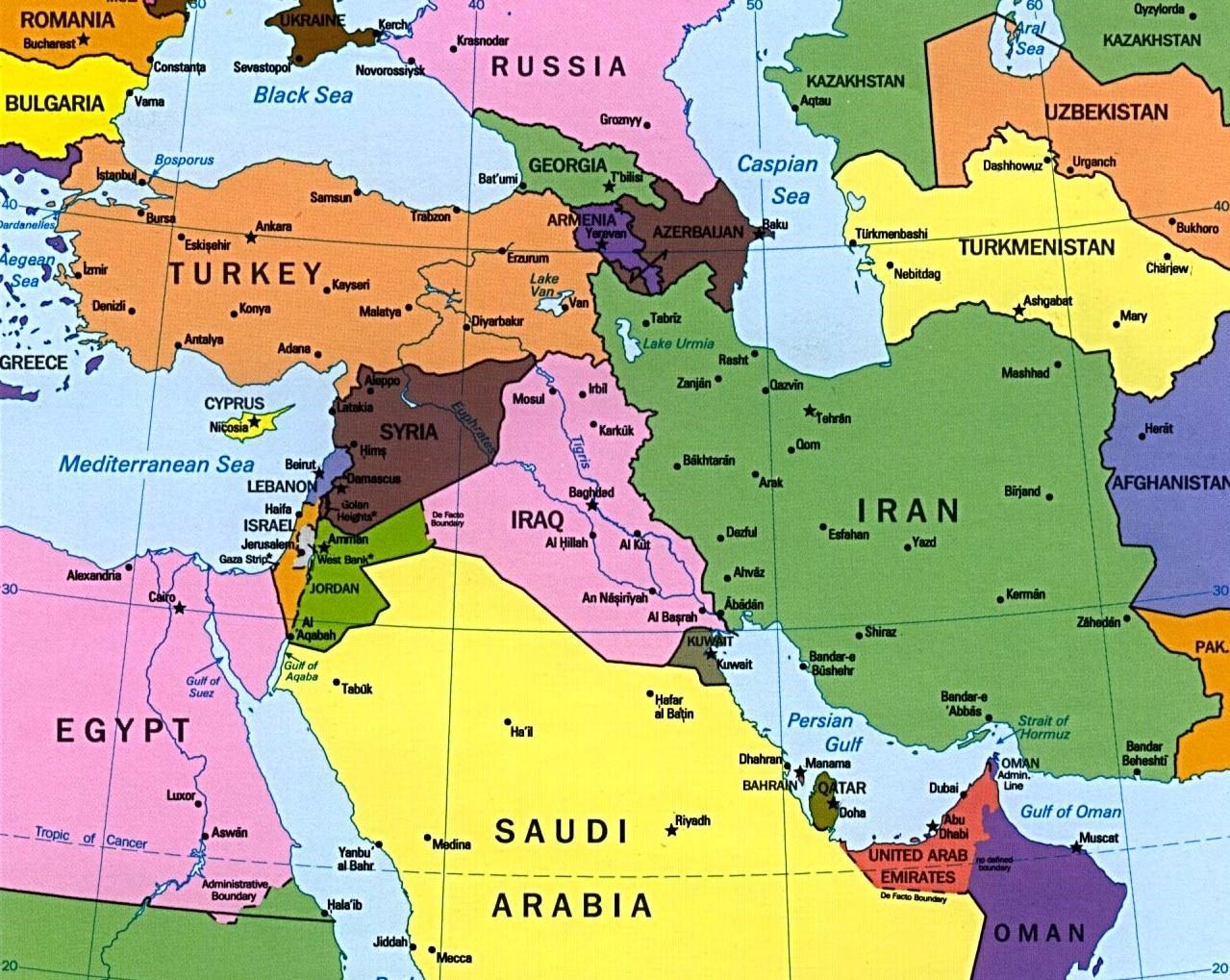 Cypern Kort Middle East Kort Over Cypern Mellemosten Det