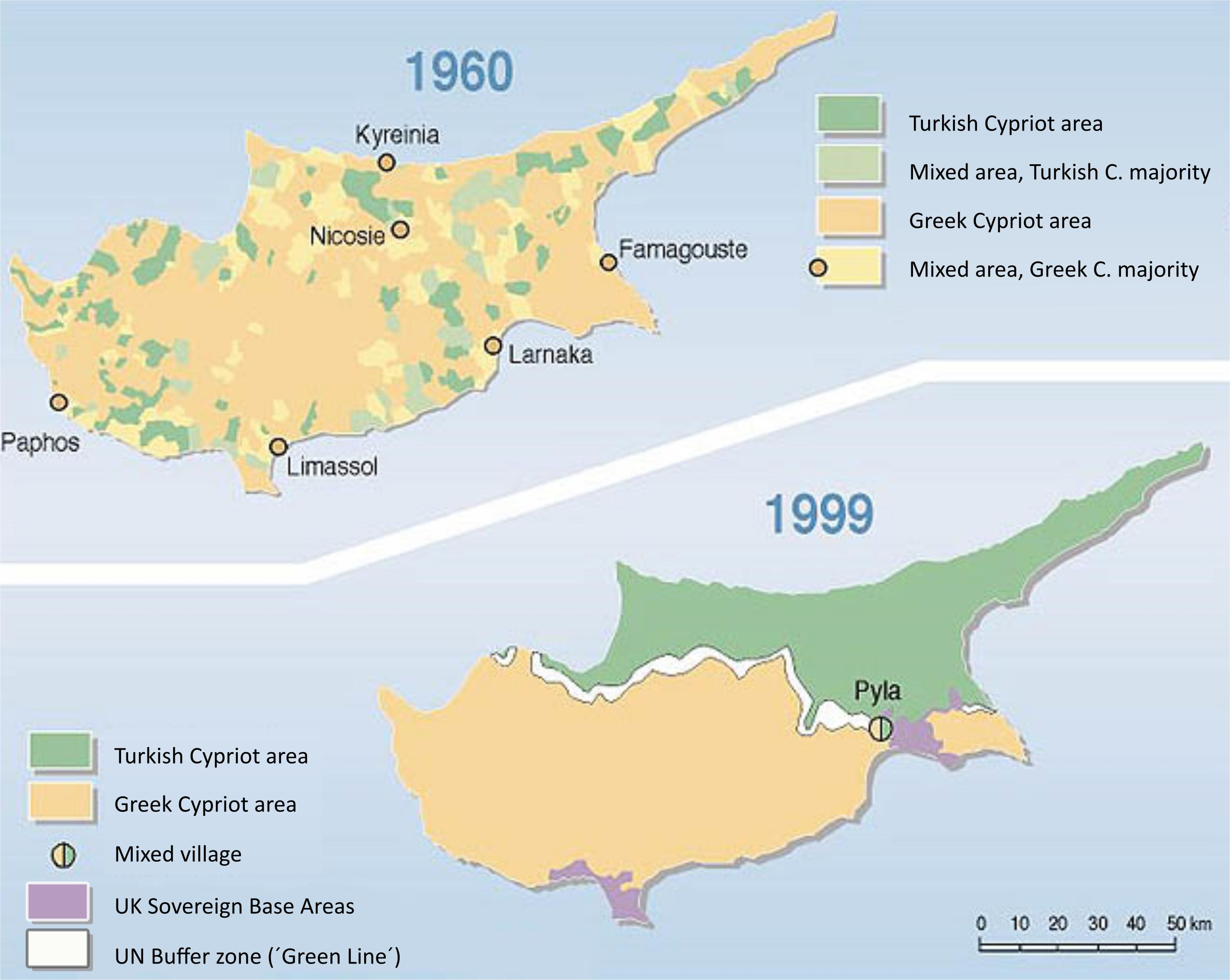 Cypern Kort Tyrkiske Side Tyrkiske Del Af Cypern Kort Det