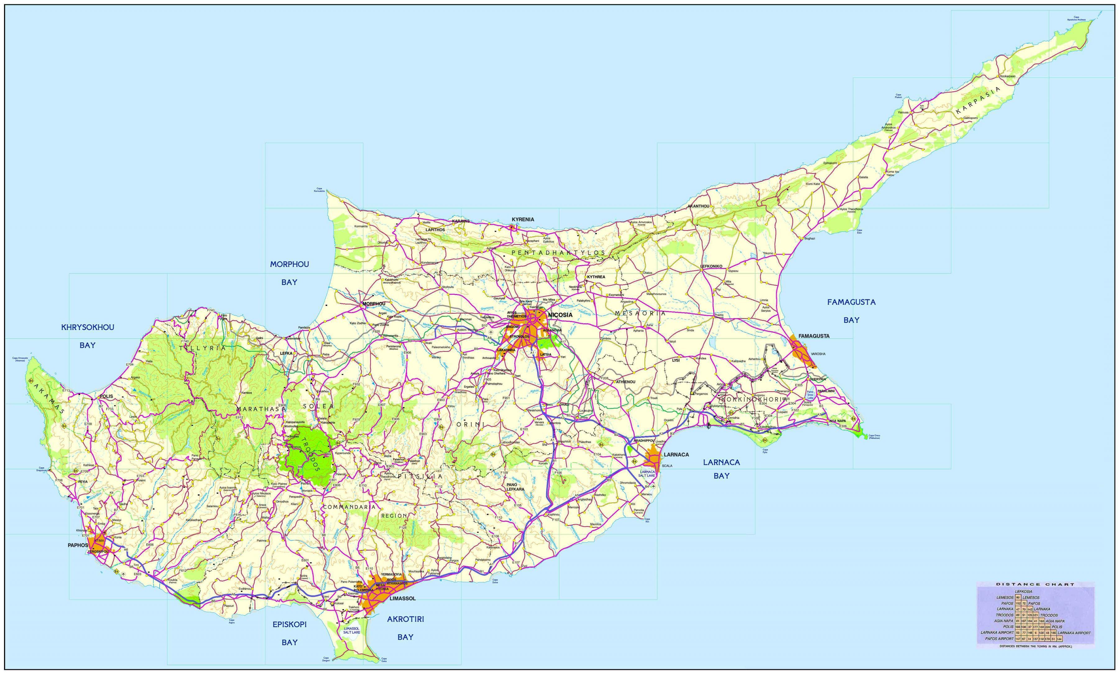 Cypern Kort Et Kort Over Cypern I Det Sydlige Europa Europa