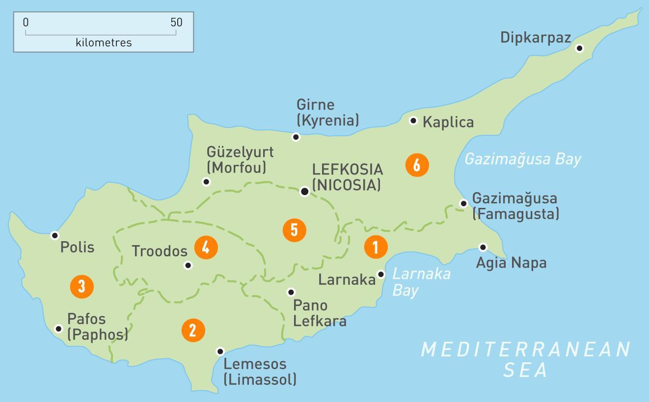 Cypern Land Kort Kort Over Cypern Land Det Sydlige Europa Europa