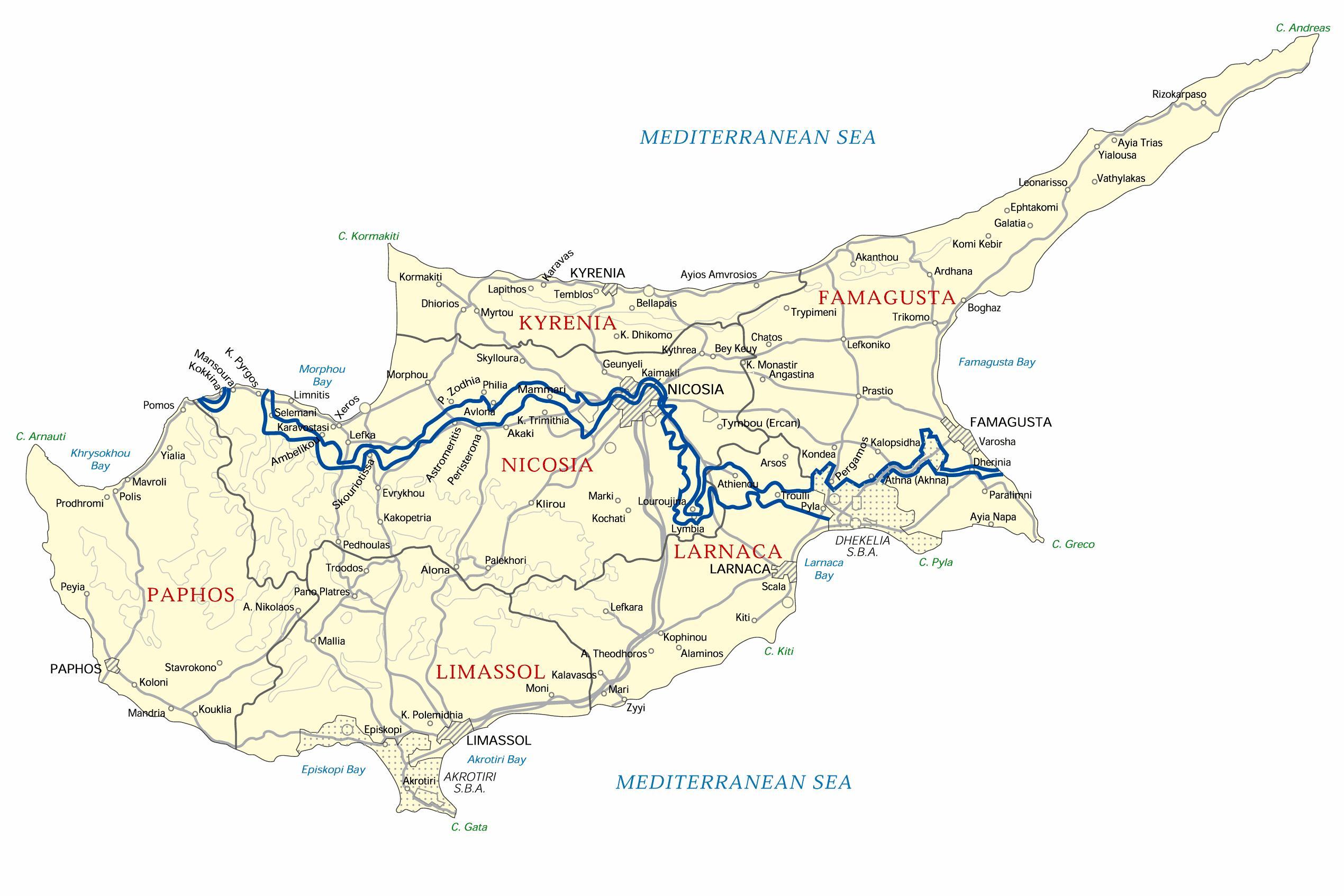 Cypern Offline Kort Kort Over Cypern Offline Det Sydlige Europa