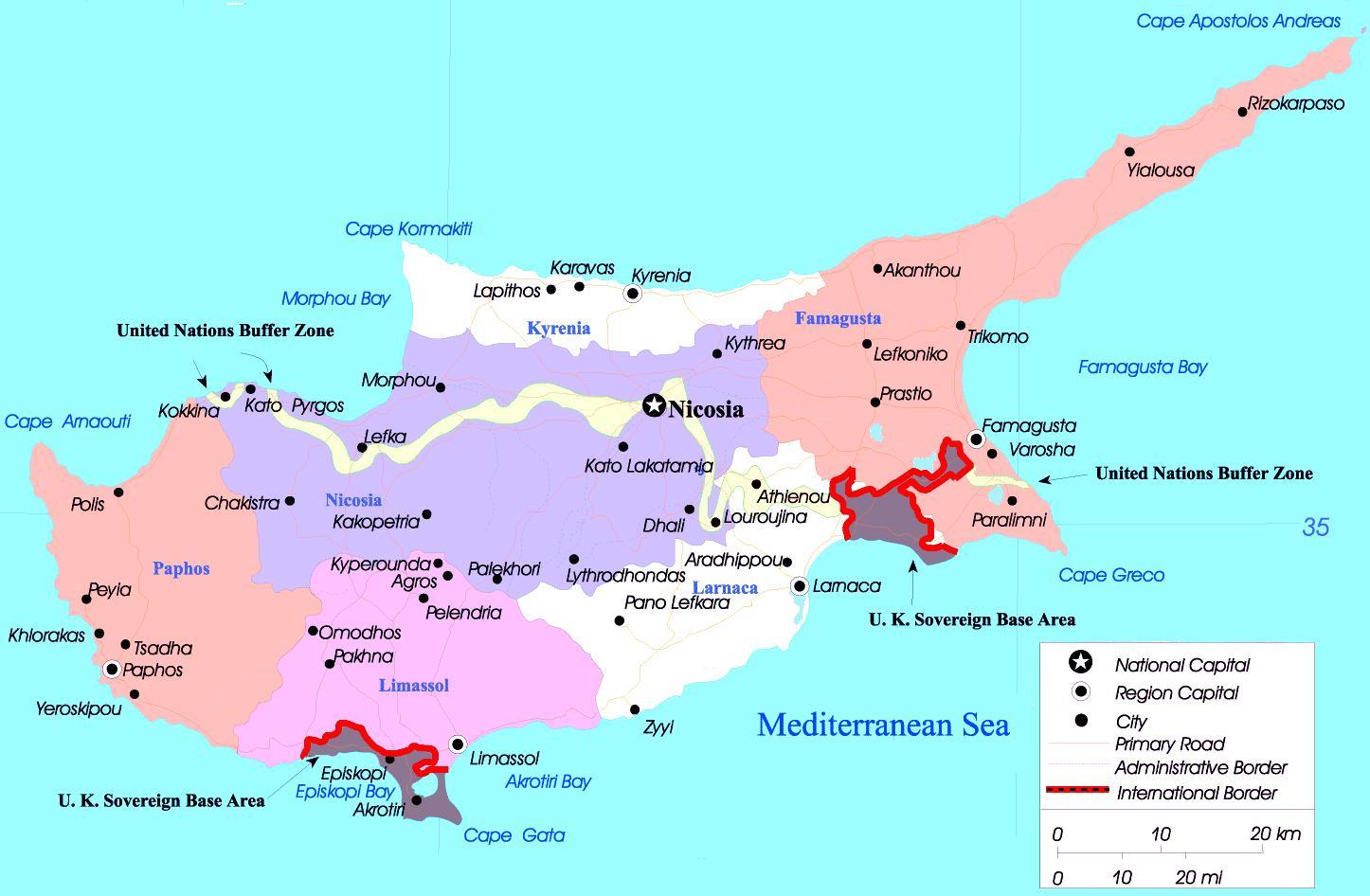 Cyperns Politiske Kort Kort Over Cypern Politiske Det Sydlige