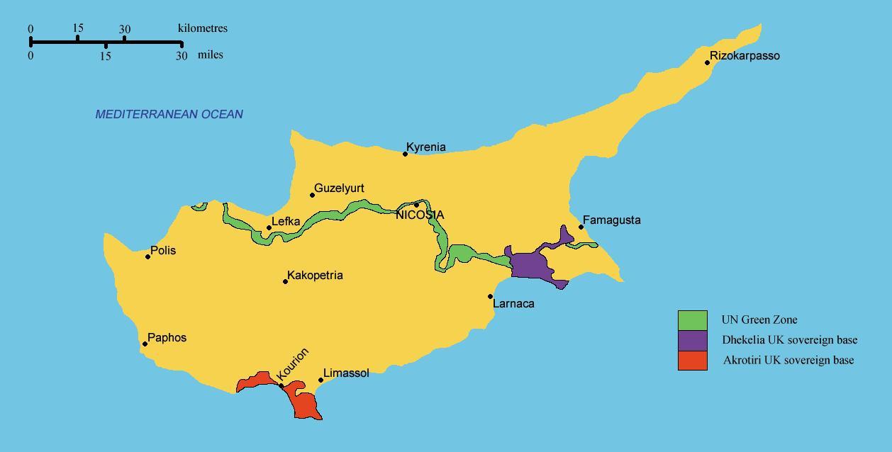 Det Sydlige Cypern Kort Kort Over Det Sydlige Cypern I Det