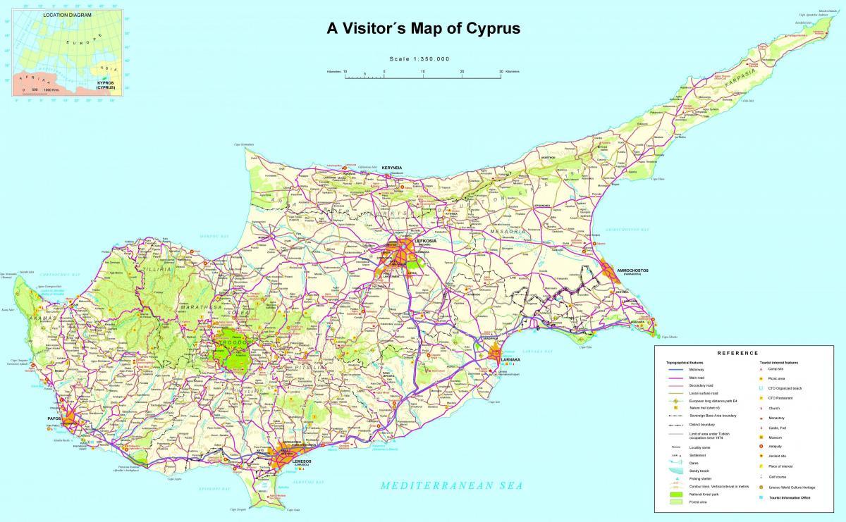Cypern Middelhavet Kort Kort Over Cypern I Middelhavet Det
